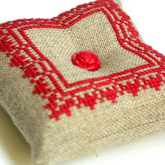 embroidered cross stitch pincushion (Bela Stitches) Tags: red flower rose crossstitch natural folk linen lace embroidery button pincushion embroidered
