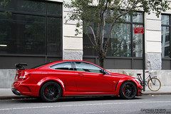 new york city nyc red black mercedes benz manhattan exotic series rare supercar amg c63