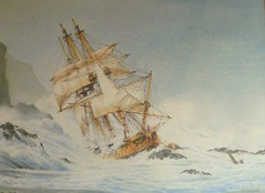 Captain James Cooks ship......HMS endeavour. (alanpeacock2) Tags: storm water painting boats shipwreck bark ontherocks watercolour beached rigging captaincook cooktown royalnavy undersail roughseas hmsendeavour thegreatbarrierreef 176880