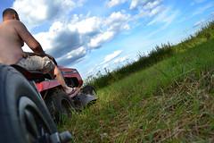 Summer (Ilkka Hakamki) Tags: blue summer sky grass clouds suomi finland lawnmover jonsered ruoho traktori ruohonleikkuri sievi leikkuri