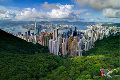 Hong Kong from Victoria Peak (andreaskoeberl) Tags: china travel blue sky urban green tourism clouds skyscraper hongkong harbor nikon colorful asia cityscape wideangle hong kong thepeak hdr highdynamicrange victoriapeak hdi d7000 nikond7000 andreaskoeberl