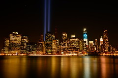 Never Forget (gloriabcastro) Tags: water colors skyline night manhattan worldtradecenter timeexposure twintowers wtc neverforget september11th sept11th freedomtower challengeyouwinner
