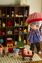 toyroom traffic (JennWrenn) Tags: red train wagon doll traffic lego little monica blocks blythe custom jam bluehair duplo toyroom kewpies sonnyangel kissmetrue
