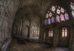 'Stained glass' (Timster1973 - Planning for next Eurotour) Tags: uk england distortion colour building canon religious cathedral distorted religion praying sigma fisheye gloucester f28 hdr highdynamicrange gloucestercathedral photomatix perspectivedistortion fullframefisheye sigmafisheye fisheyesigma15mmf28 sigmadgfisheye