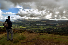Looking out from the Top of the World (Gem E Piper) Tags: uk england lake man mountains male green nature beautiful clouds walking landscape outside outdoors person freedom countryside town nationalpark high scenery thought view unitedkingdom britain hiking walk gorgeous lakedistrict thoughtful free husband calm hike hills cumbria stunning pensive british naturalbeauty nationaltrust keswick fell enjoyment whinlatter forestrycommission skyporn whinlatterforest derentwater seathow lphills