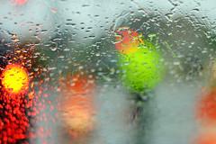 Construction Through The Rain Drops (KAM918) Tags: abstract water colors rain weather ma lights drops construction nikon neon bokeh massachusetts windshield liquid lowell d3100