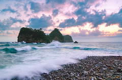 Stormy Sunset at Sanshiro (-TommyTsutsui- [nextBlessing]) Tags: longexposure blue light sunset sea sky seascape storm nature japan clouds landscape nikon purple magic tide scenic shore      izu latesummer     sanshiro  nishiizu stormysea  sigma1750 onsalegettyimages