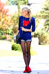 Heart to Spot1 (Thedrawingmannequin) Tags: red fashion vintage sweater heart navy style polkadots spotted booties redboots redbooties vintagepurse sheertights polkadottights heartsweater fashionblogger spottedtights