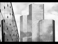 Overhead. (jero 053 (J.Fransen)) Tags: city blackandwhite bw abstract money paris building glass monochrome architecture modern canon concrete cool europe mood empty culture minimal canon5d bonus financial jero ladefence lightroom 053 blackwhitephotos