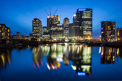 Docklands Smudge (Olly Plumstead) Tags: blue blur night canon buildings landscape lights long exposure cityscape mark ii hour wharf 5d docklands canary olly refelction barclays citi plumstead