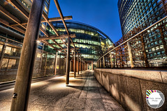 50 Shades of Blue (Think James Photo) Tags: wood blue trees london glass grass architecture night garden concrete office angle pillar steps victoria walkway column tall hdr highdynamicrange embankment hdri cadinalplace