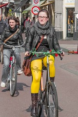 yellow legs (105mm) Tags: street city flowers people woman sun flower sexy girl smile dutch sunglasses amsterdam fashion bike bicycle outfit women colorful boots knickers style streetlife mini skirt bicycles blond seethrough pantyhose stad bril fiets streetwear straat mensen streetfashion streetstyle straatportret