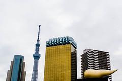 Asahi Building and Sky Tree (SPVRKYphotography) Tags: white background outdoor sky tree tokyo japan asahi building skyline