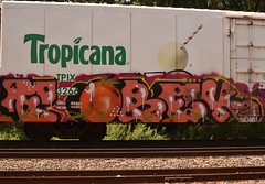 FOBEK (TheGraffitiHunters) Tags: graffiti spray paint graff street art colorful freight train tracks benching benched boxcar reefer refrigerator juice car fobek
