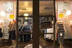 Closed (Curtis Gregory Perry) Tags: lakeoswego oregon night clothing store clothes window display mannequin simply posh beauty classy fad delicate exquisite grand sign poster glass nikon d800e longexposure door closed open