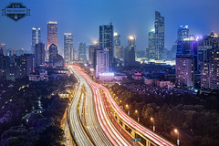 Shanghai Central Intersection Jingan - 28-Jul-2016 (--) Tags: shanghai light trails jingan zhabei long exposure night city center blue hour sunset rush elevated roads buildings skyscrapers alpa 12 max rodenstock hr sw 90 90mm f56 phase one p45