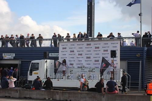 The Ginetta GT4 Supercup podium at Rockingham, August 2016