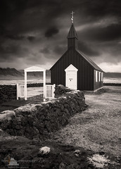 Buðir Church (www.fourcorners.photography) Tags: europe iceland sept2015 buðir budir snæfellsnes arnarstapi búðahraun blackwhite bw cross church lavafield lavarocks windswept peterboehringerphotography monochrome fourcornersphotography