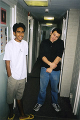 Dave and Jeremy (Gary Kinsman) Tags: hampsteadstudentcampus hampstead childshill nw3 kidderporeavenue london 2001 film kingscollegelondon kcl hallsofresidence studentcampus students university fun youth young pose posed flash