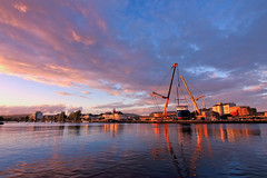 Boat Launch at sunset (Colin Kavanagh) Tags: sunset sky water river arklow ireland wicklow cow bridgewater crane ship ngc