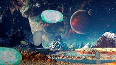 the Mothership (ingridfrd) Tags: abstract space color planets alien ufo mothership green
