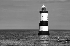 Fisherman-at-Penmon-(Mono) (Trigger 1) Tags: penmon lighthouse fisherman mono anglesey seaside
