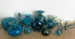 Some, but not all... (pefkosmad) Tags: mdina glass artglass studioglass art blown glassblowing blue sea sand collection collecting indoor vases dishes paperweights birds malta malteseglass decorative maltese decor display