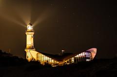 Sky Lights (--Conrad-N--) Tags: warnemnde leuchtturm lighthouse light beams night nightsky ostsee baltic sea harbor