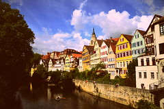 Tbingen (DrQ_Emilian) Tags: town city buildings colors river sky clouds trees boat travel germany badenwrtemberg europe europa tbingen destination tourism neckar