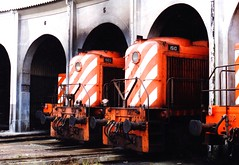 Alco noses in Portugal (Barang Shkoot) Tags: cp portugal loco locomotiva railway engine 1503 1510 alco depot locomotive roundhouse iberia arch archway