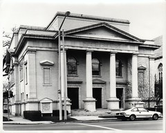 First Church of Christ, Scientist, 240 S. Park, Kalamazoo, c1982 (kplcommons) Tags: first church christ science columns architecture car streetlight building trees kalamazoopubliclibrary sarah hultmark