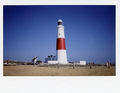 Portland Bill Lighthouse / Fuji Instax 210 (ho_hokus) Tags: 2016 england fujiinstax210 instantcamera instantfilm instax instax210 instaxwide portland portlandbill uk coast coastline lighthouse shore shoreline