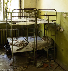 Kindergarten beds in colour (Dave and Jodi Piddington) Tags: chernobyl ukraine holiday decay abandonedbuildings death history nucleardisaster accident travel dark tourism darktourism photography architecture nuclear disasters adventure kiev blackandwhite