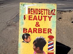 Trendsetterz (misterbigidea) Tags: street city wild beauty fashion sign shop hair logo landscape glamour missing peeling view handmade cut letters stripe hairdo style pole scissors business faded edge barber cutting type salon lettering trend hairstyle signboard stockton setter withaz trendsetterz