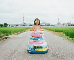 The Endless Summer 2012 #2 (Toyokazu) Tags: family summer portrait girl kids swimming kiss child ring photogenic pentax67