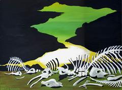 The Bones of Elephants (CityOfDave) Tags: africa sunset moon elephant animal watercolor landscape skeleton asia acrylic dusk bones moonlight elephants gouache skeletal extinction proboscidea elephantidae elephantgraveyard elephantus