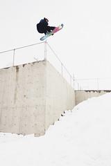 Dylan Vachon - 180 melon (ben giesbrecht) Tags: life winter sky urban white snow calgary fence movie stars concrete snowboarding jump space extreme helmet wide style drop trick agnes capita dylanvachon