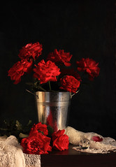 Love Is An Endless Mystery (panga_ua) Tags: flowers light stilllife color art love floral mystery composition canon reflections spectacular lights bucket artwork knitting shadows darkness artistic availablelight magic ukraine poetic creation refraction imagination natalie shawl reds chiaroscuro arrangement tabletop pail redroses bodegon naturemorte crystalball panga artisticphotography rivne naturamorta artphotography richcolors sharpfocus deepcolor loveisanendlessmystery woodentabletop  nataliepanga pastelsbackground metallicbucket