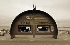 The View (dawn.v) Tags: uk sea england beach sepia coast seaside cafe september esplanade promenade dorset weymouth theview