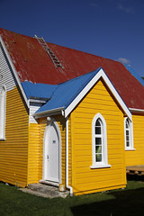 Old church  - Havelock. (kiwigran) Tags: blue red color colour church colors yellow nelson ladder oldchurch havelock woodenchurch paintjob halfpainted roofpaint adobephotoshopexpress