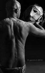 Cara a Cara (gardolich) Tags: light shadow brazil portrait bw white man black byn blanco luz argentina argentine monochrome face brasil canon eos lights back reflex model buenosaires close mask skin retrato negro cara sombra bn modelo attitude espalda reflejo passion mascara hombre belleza pasion talco talc actitud piel 60d gardolich edgardolicht