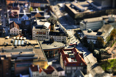 These busy streets [Daily Project] (DavGoss) Tags: city school people streets grass car norway photoshop canon mall eos bergen hdr buss tiltshift photomatix 550d cs5 ti2 davgoss