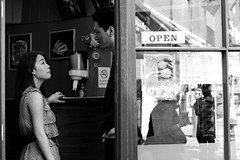 Tryst (pollyblue) Tags: street blackandwhite london girl shop reflections candid soho streetphotography 2012 centrallondon pollyblue