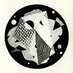 Composition No. 20120918 (Bert van Wijk) Tags: urban bw white abstract black art texture illustration contrast pen pencil ink circle paper square drops triangle pattern drawing geometry bert form organic van wijk juxtaposed idrawalot bertvanwijk