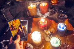 Solitary Mabon ritual, 2012 (callie.fu) Tags: candles smoke ceremony tarot ritual solitary wicca mabon chalice athame sabbat asabove bookofshadowstarot