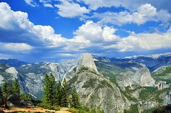 Glacier Point - Yosemite National Park (faungg) Tags: park travel blue trees sky usa mountains west green nature rock clouds landscape us nikon scenery view rocky national yosemite western halfdome    18200  d90