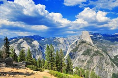 Glacier Point - Yosemite National Park (faungg's photos) Tags: park travel blue trees sky usa mountains west green nature rock clouds landscape us nikon scenery view rocky national yosemite western halfdome    18200  d90