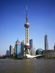 Shanghai, China, the Oriental Pearl TV Tower seen from the Bund by the River Hangpu, in Shanghai (buzzer999) Tags: china tower tv asia shanghai bund nikond2x hangpuriver starofasia 3570f28 jinmau