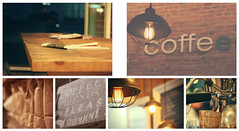 coffee anyone? (Morningdew Photography) Tags: blue light red brown white ontario canada black brick green glass coffee sign yellow wall night canon vintage silver bench bag table gold grey glasses golden evening newspaper beans purple gray tan cream coffeeshop kingston bags blackboard coffeemachine coffeebeans on ef24105l t1i