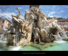 The Fountain of the Four Rivers in Piazza Navona, Rome, Italy :: HDR (Artie | Photography :: I'm a lazy boy :)) Tags: italy rome fountain architecture photoshop canon roman engineering wideangle medieval structure piazzanavona bernini ef 1740mm f4 hdr artie fountainofthefourrivers cs3 fontanadeiquattrofiumi 3xp photomatix 1651 gianlorenzobernini tonemapping tonemap 5dmarkii 5dm2